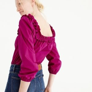 NWT J.Crew 🐷 Magenta Ruffle/Off-Shoulder Top